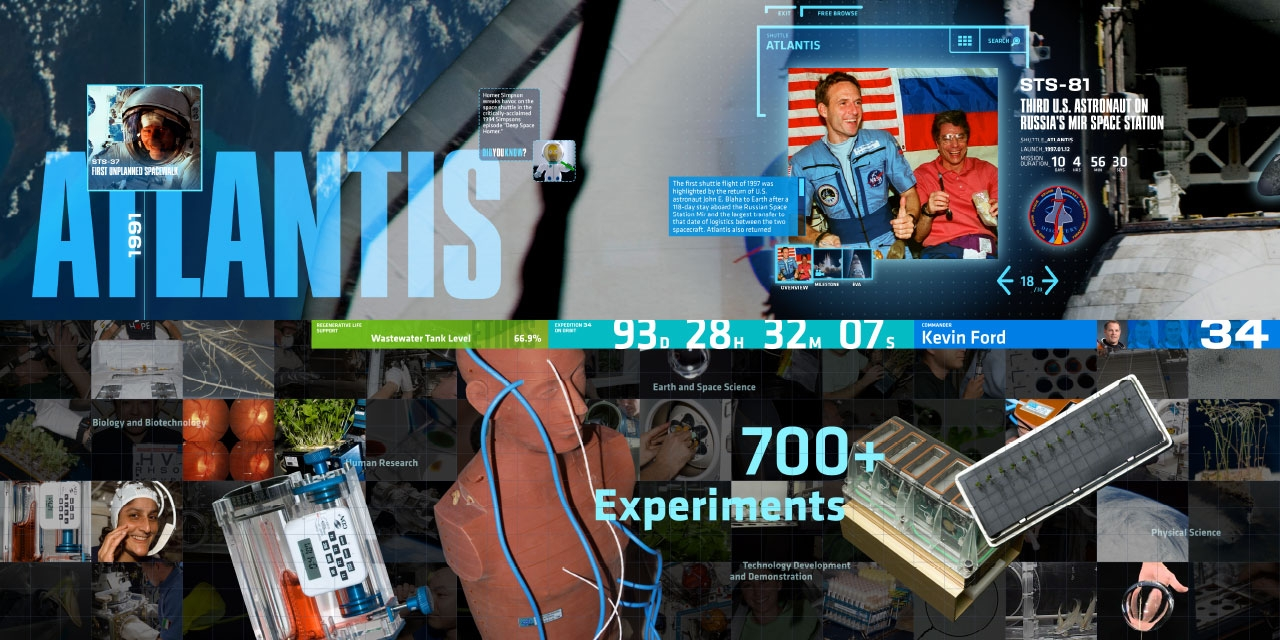 Media Wall, International Space Station, Kennedy Space Center, Interactive, Space Shuttle Atlantis Attraction,