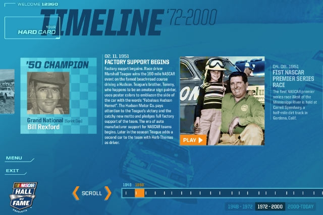 Unified Field Interactive Studio created a number of digital Interactives for the NASCAR Hall of Fame including all interface design and interactive design.