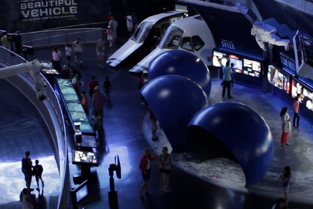 The Space Walking Simulator at the Kennedy Space Center's Space Shuttle Atlantis Attraction created by Unified Field Interactive Studio.