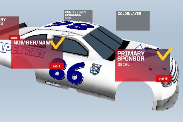 A 3D Model of A NASCAR Car allows visitors to explore the Hidden Features of cars. Unified Field.
