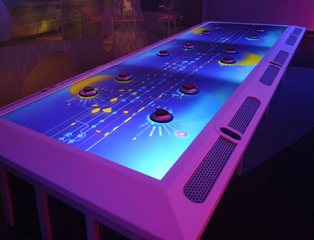 The Music Mixer Interactive Table at the Sony Wonder Technology Lab created by Unified Field Interactive Studio.