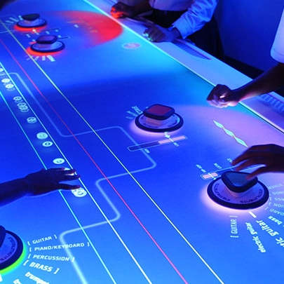 The Music Mixer Table at the Sony Wonder Technology Lab developed by Unified Field Interactive Studio