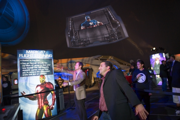 Our Iron Man Flight training gesture simulator lets guests fly through a desert obstacle course.