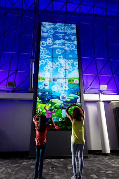 Unified Field's Bubble Tower lets visitors at the Strong Museum of Play unleash a whirlwind of bubbles.